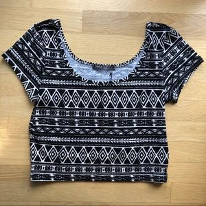 h.i.p. Black and White Tribal Pattern Crop Top
